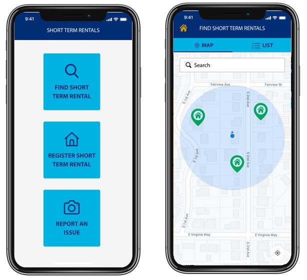 mockup of short-term rentals app